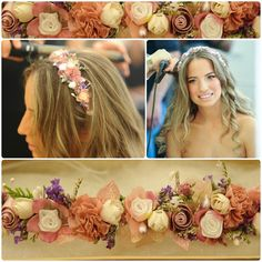 Bridal Flower Crown   Floral Pink Headpiece  Cherry by carellya, $79.00