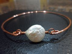 Coin Pearl Copper Bangle Bridesmaid Gifts by Jenalynscreations, $16.99