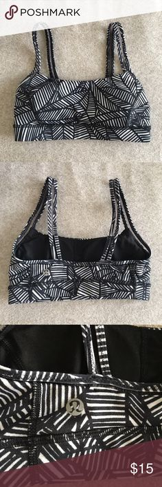 Lululemon Sports Bra Very simple style. Black and white leaf print with mesh detail on the straps. Size 2, material information on the 4th photo. lululemon athletica Intimates & Sleepwear Bras