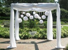 Huppa with Flower Balls Southern Event Planners, Memphis, TN Wedding Chuppah, Wedding Ceremony Script, Ceremony Backdrop, Ceremony Decorations, Arch Decoration, Wedding Party Favors, Wedding Centerpieces, Wedding Ideas, Wedding Inspiration