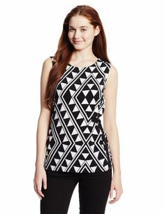 Calvin Klein Women's Sleeveless Printed Top with Side Buttons, Black/Winter White, X-Large Calvin Klein,http://www.amazon.com/dp/B00H4RQ0CO/ref=cm_sw_r_pi_dp_D-fHtb0G866NCDQF