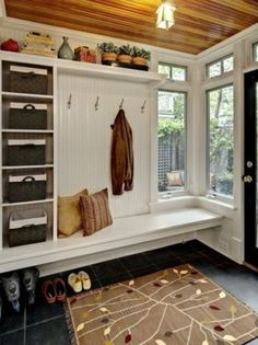 Love this for a mud room! I would have a cool mud room like this in my dream house! Entryway Storage, Entryway Ideas, Shoe Storage, Storage Baskets, Bench Storage, Organized Entryway, Storage Shelves, Open Shelving, Entrance Ideas
