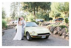 Rosencrown Photography  August 3, 2015 Travis + Stephanie's wedding day was incredible. The sun was shining, the bride was glowing, and the groom was full of joy. Conditions couldn't have been more perfect. But, then you throw in a 1972 Datsun 240Z that has been handed down from the bride's father, and things get even more magical...  Venue: Maple Leaf Events Dress: AniA Collection Suit: Mr. Formal Gresham  Stephanie Seet and Travis Seet. Datsun 240z, Event Dresses, Real Weddings, Groom, Wedding Day, The Incredibles, Bride, Father, Photography