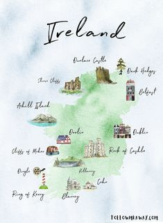 ireland honeymoon The Perfect Ireland Road Trip Map England Ireland, Galway Ireland, Belfast Ireland, County Cork Ireland, Ireland Pubs, Ireland Castles, Best Of Ireland, Ireland Hotels, Ireland Food