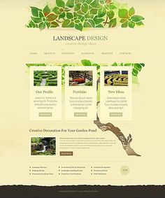 Template 43500 - Landscape and Exterior Design Stretched Flash CMS Template