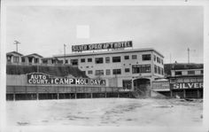"""Silver Spray Apartments, Hotel, Plunge, and Camp Holiday. Built at the end of Narragansett Ave. in Ocean Beach in 1919 on the legendary site of the 1800's shack of OB's first """"home owner"""". The facility boasted and Ice Rink, Spa, Dance Hall, and Hot Salt Water Pool. This location still exists today as an apartment complex just south of the Ocean Beach Pier.        San Diego, CA, 1939"""