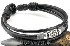 4B-537 Sterling Silver, Leather & Black Onyx Stone Wristband Men Wrap Bracelet.