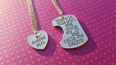 Daddy and Little matching BDSM jewellery gift set. Daddys necklace/ chain says: There is this girl she stole my (heart) she calls me Daddy Littles