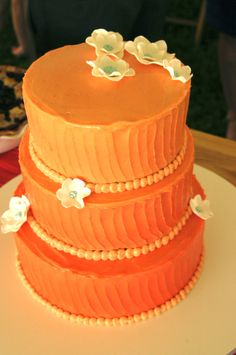 Ombre wedding cake: Coconut and Lemon Curd with Vanilla Bean Buttercream