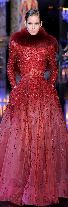 ELIE SAAB Couture Fall 2014 | red | pearl beaded