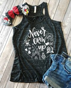 Never Grow Up Disney Flowy Tank - Disney Shirts - Disney shirts for women - Disney Family Shirts - D