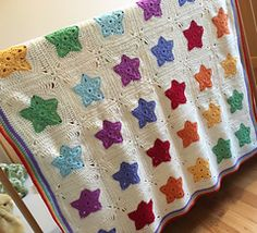 Here it is - the release of my Rainbow of Stars Blanket Crochet Pattern.