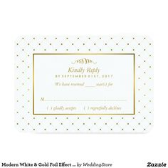 Shop Modern White & Gold Foil Effect Wedding RSVP created by WeddingStore. Black And White Wedding Invitations, Wedding Rsvp, Modern Wedding Invitations, Floral Wedding, Celebrity Weddings, Gold Foil, Party Themes, Birthday Parties, Bridal Shower