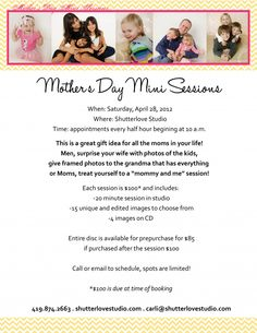 Just a few spots remain for our mother's day mini sessions!