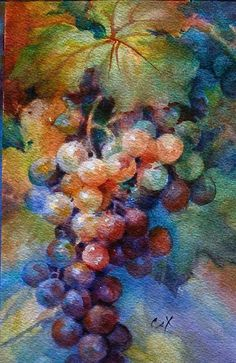 Getting An Abstract Paint – Buy Abstract Art Right Watercolor Fruit, Watercolor Flowers, Watercolor Paintings, Watercolors, Grape Painting, Fruit Painting, Fine Art, Painting Inspiration, Flower Art