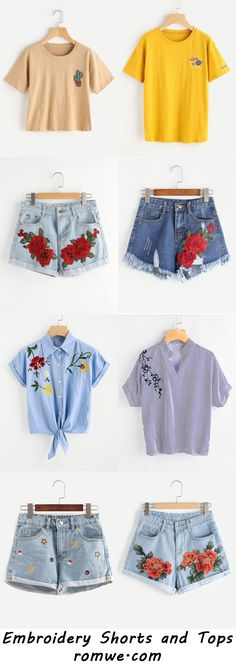 Embroidery Shorts and Tops 2017 - ROMWE.COM