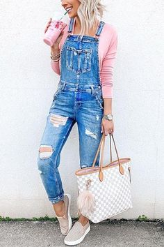 Pockets Ripped Denim Jumpsuit Overall Outfits Simple Outfits, Trendy Outfits, Cute Outfits, Fashion Outfits, Women Fashion Casual, Feminine Fashion, Party Outfits, Modest Outfits, Beautiful Outfits