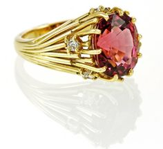 Pink Tourmaline and Diamond Cocktail Ring form Holts London, Hatton Garden #MothersDay http://www.holtsgems.com/product/pink-tourmaline-and-diamond-ring-