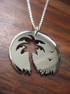 Palm tree Sunset Birds Pendant Necklace -- inspiration