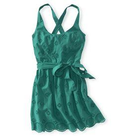 aeropostale green eyelet woven dress....very pretty shade of green...