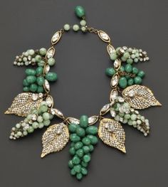 Necklace | Frank Hess for Miriam Haskell. 'Grape Cluster Festoon'.  ca. 1950s