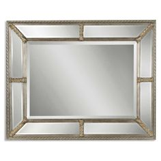 49 Reflective Surface and Antique Silver Leaf Framed Rectangular Wall Mirror