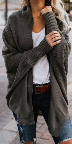 #fall #outfits green cardigan ripped jeans