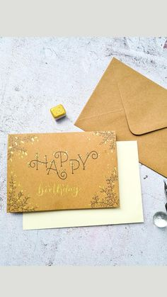 Happy Birthday Wishes, 40th Birthday, Pearl Paint, Glitter Crafts, Letter A Crafts, Handmade Birthday Cards, Islamic Calligraphy, Kraft Paper, Gold Glitter