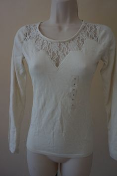 NWT Guess Cream Lace Long-Sleeve Sweater Top Women's Small S $69 defect #Guess #KnitTop