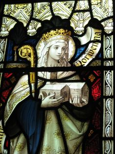 St.Morwenna! (ok she is missing the all important 'h' but can I say I have my own stained glass window...??