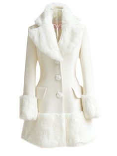 Patchwork Fur Collar Single Breasted Stylish Overcoats Only $64.95 USD More info...