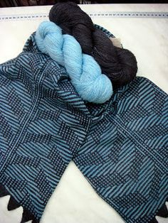 Will's Wools Scarf designed and machine knit by Marja Hartong using Loret Karman Lace yarn.