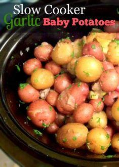 Slow Cooker Garlic Potatoes #babyfoodrecipes