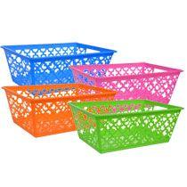 Bulk Rectangular Cross Pattern Plastic Storage Baskets With Handles At  DollarTree.com