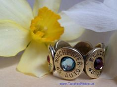 45 Caliber bullet band ring Mother's day ring by twistedpeaceus, $49.95 Country, Mud, Biker, Cowboy, Bride, Groom, Best man, Hunt club, Father of the bride, Mom, Grandmother, Steam punk, Police, Soldier, Mom, Hill Billy