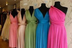 Two Birds Bridesmaid Dresses Multicoloured On Mannequins. One day when I get married my bridesmaids will wear these dresses and have it any style they want! Two Birds Bridesmaid, Wedding Bridesmaids, Bridesmaid Dresses, Wedding Attire, Wedding Gowns, Top Wedding Trends, Wedding Ideas, Wedding Stuff, Wedding Things