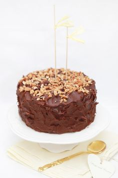 vanilla and caramel chocolate ombre cake with chocolate ganache and peanuts.