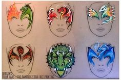 The cheeks on the full face dragon are awesome but all of the designs are awesome. Dragon Face Painting, Face Painting Flowers, Face Painting For Boys, Face Painting Designs, Body Painting, Childrens Makeup, Dragon Makeup, Japanese Face, Halloween