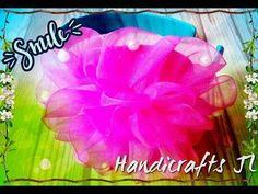 Diadema con flor de liston organza paso a paso / ribbon flower headband - YouTube