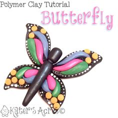 """Polymer Clay ButterflyTutorial Spring is just around the corner! This polymer clay butterfly tutorial can be used as a starting point for pendants, brooches, or even barrettes! Use your imagination and get started creating. This month in Parker's Clay Tribe, our Swap theme is """"Butterflie"""