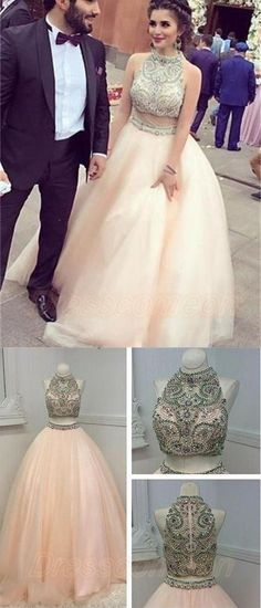 Ball Gown Prom Dresses,Prom Dresses 2017,Beautiful Prom Dresses,Prom Dress,Real Nice Pink Two Pieces Prom Dresses,Princess Prom Dresses,Quinceanera Dresses,Pretty Party Dresses,Modest Evening Dresses,Dresses For Teens
