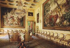 """The Dining Room at Liria Palace in Madrid, Spain. Gobelins tapestries from the """"New Indies"""" series were made after cartoonsby Dutch painter Albert Eckhout. Photo by Ricardo Lobougle."""