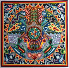 23.5 Mexican Huichol Marakame Ceremony yarn painting by Aramara