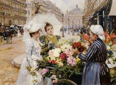 Louis Marie de Schryver, The Flower Seller, Avenue de L'Opera, Paris, 1891