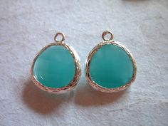 2 pcs, MINT Glass Charm Pendants, Chrysoprase GREEN, 16x13 mm, Silver or Gold Plated Brass Frame for earrings necklace jewelry making, GP1.M