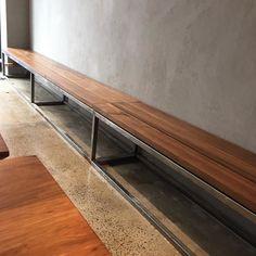 Nice Blackwood bench @belleshotchicken #madeinmelbourne #custom #design #cafe #fitout #furniture #carpenter by jimmytimber