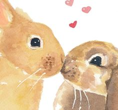 True Love ~ Bunny Art ~ Original Watercolor Painting via Etsy