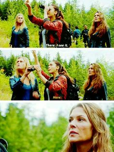 I love this scene because Raven gives the binoculars to Clarke and not Abby. The 100 still see Clarke and Bellamy as their leaders.