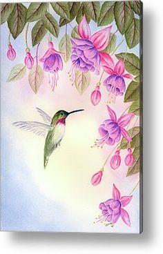 Hummingbird With Fuchsia Metal Print by Leona Jones