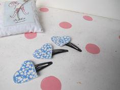 PINCE accessoire cheveux fille coeur tissu liberty Glenjade bleu ,barrette accessoire cheveux fille coeur tissu : Accessoires coiffure par felicity-fraise